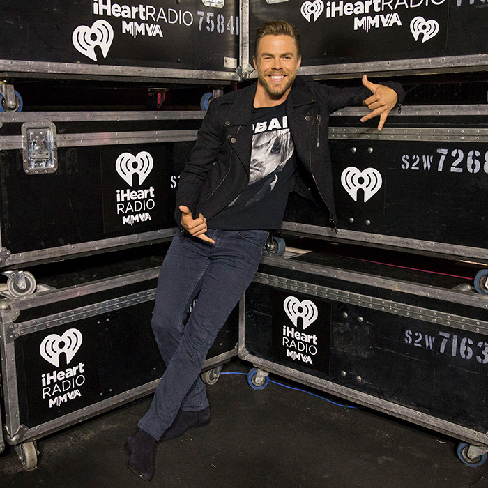 Rock on! Derek Hough got comfortable behind the scenes before hitting the stage.
