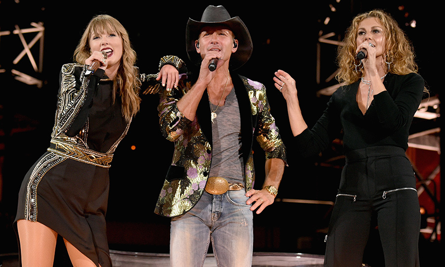 "Remember one of Taylor Swift's first songs called ""Tim McGraw""? Well, here she is with the real deal! The country crooner performed onstage with Tim and his singer wife Faith Hill during the Reputation tour in Nashville, where her journey first began at 14.