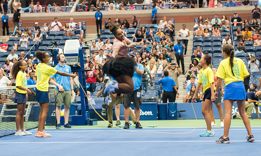 The Arthur Ashe Kids' Day had Serena Williams jumping for joy! A group of lucky girls got to man the rope as they tested the tennis pro's skipping skills.