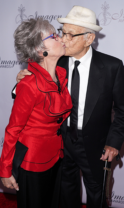 Los Angeles was made for love! Actress Rita Moreno and writer Norman Lear shared a smooch while attending the Imagen Awards together.