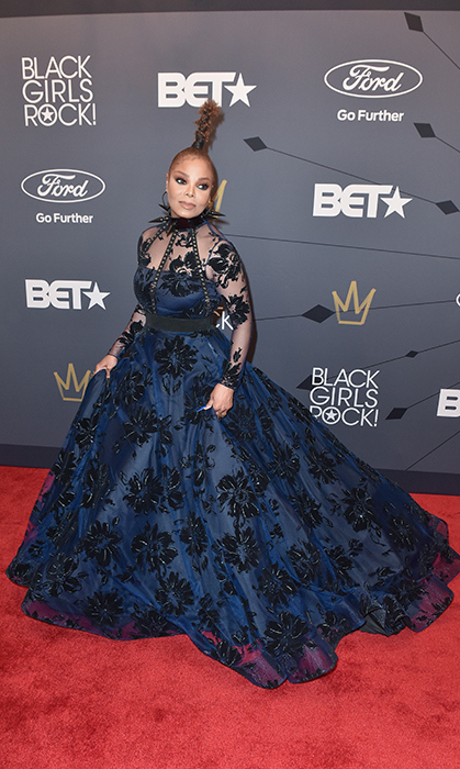 Janet Jackson looked gothic chic in a Christian Siriano gown while rocking the red carpet at the Black Girls Rock! event.