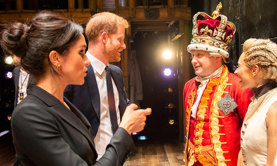 Meghan and Harry chatted with cast members after the show.
