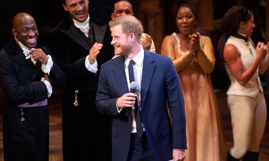 "Prince Harry gave a speech after the performance, during which he pretended to be King George III, reciting his signature interlude ""You say..."" to the delight of the audience. 