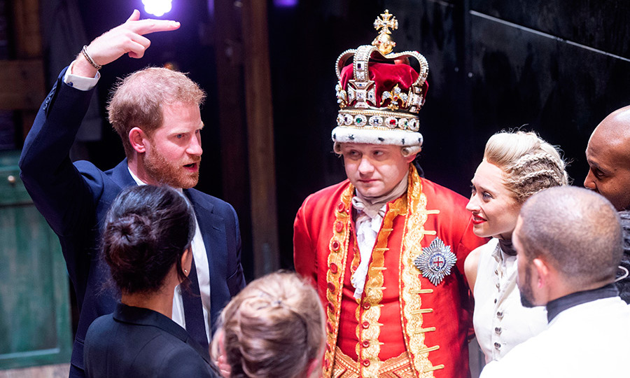 Prince Harry had an animated conversation with the actors from the West End cast of <em>Hamilton</em>.