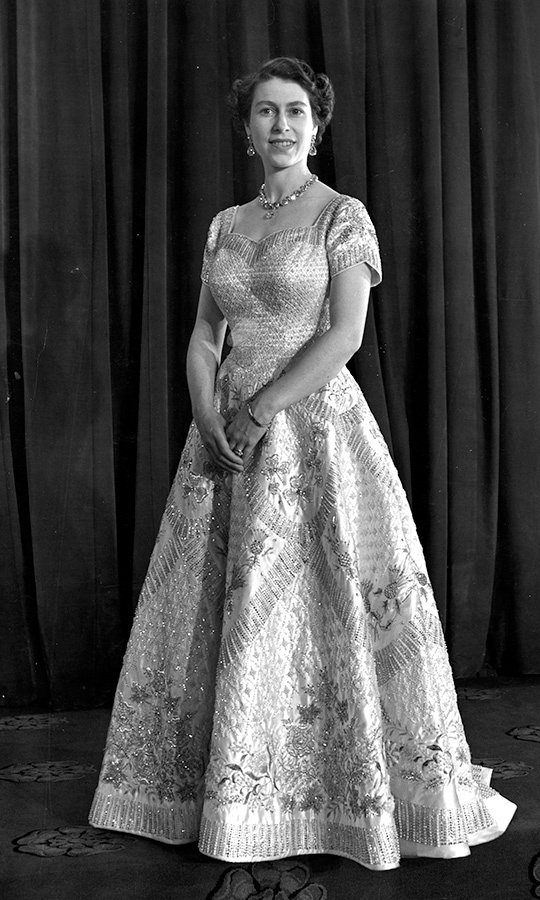 The Queen's Norman Hartnell coronation gown featured  embroidered flowers from eight Commonwealth countries.