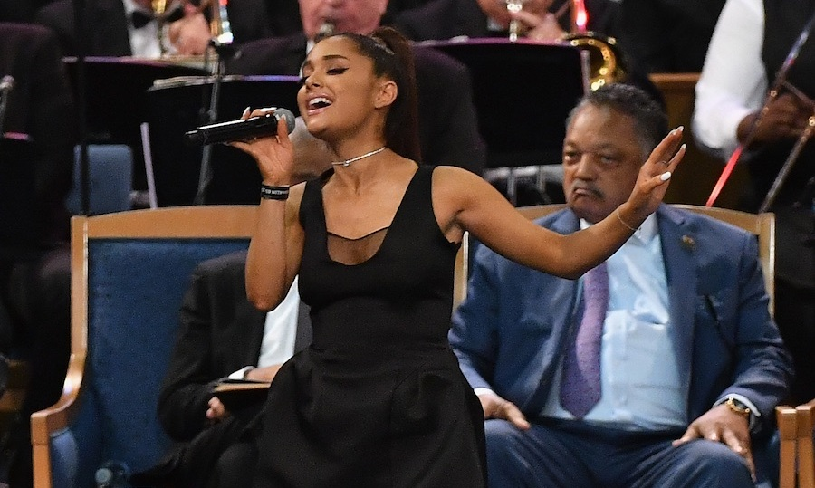 "Paying tribute to the Queen of Soul. Ariana Grande was one of many artists to perform at Aretha Franklin's funeral on Aug 31. The pop star delivered a moving rendition of the soul singer's hit ""Natural Woman"" during the five-hour long service, which was attended by Bill and Hillary Clinton, Jennifer Hudson and Smokey Robinson. Aretha passed away on Aug 16 at the age of 76. 