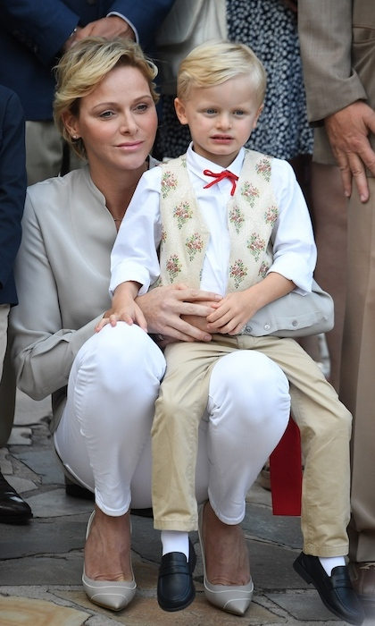 Princess Charlene of Monaco enjoyed the picnic festivities with her look-alike son Prince Jacques. 
