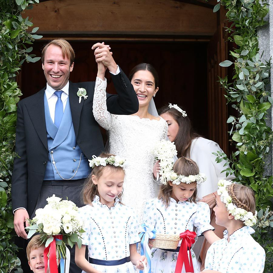 "Royal wedding! Prince Konstantin of Bavaria and his wife, the newly minted Princess Deniz of Bavaria, said ""I do"" at the Eglise au Bois church in St Moritz, Switzerland on Sept. 1.