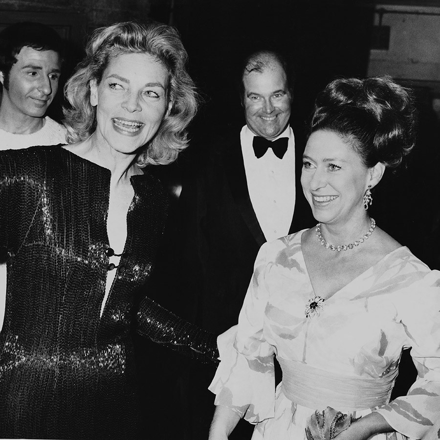 Glamorous Princess Margaret with actress Lauren Bacall at a West End preview in 1972.