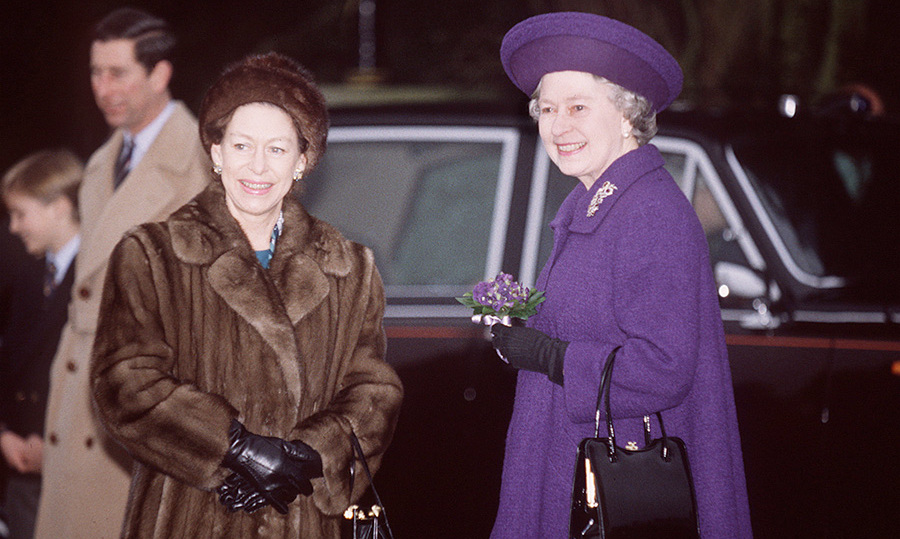 The Queen And Princess Margaret on Christmas Day in Sandringham in 1992.