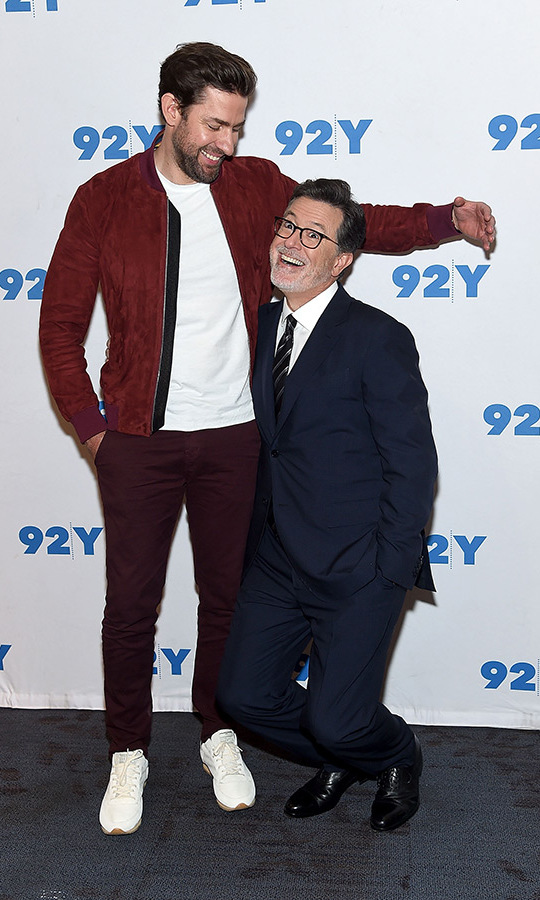 John Krasinski and Stephen Colbert hammed it up on the red carpet on Sept. 4 at the 92nd Street YMCA, where they teamed up for a conversation.