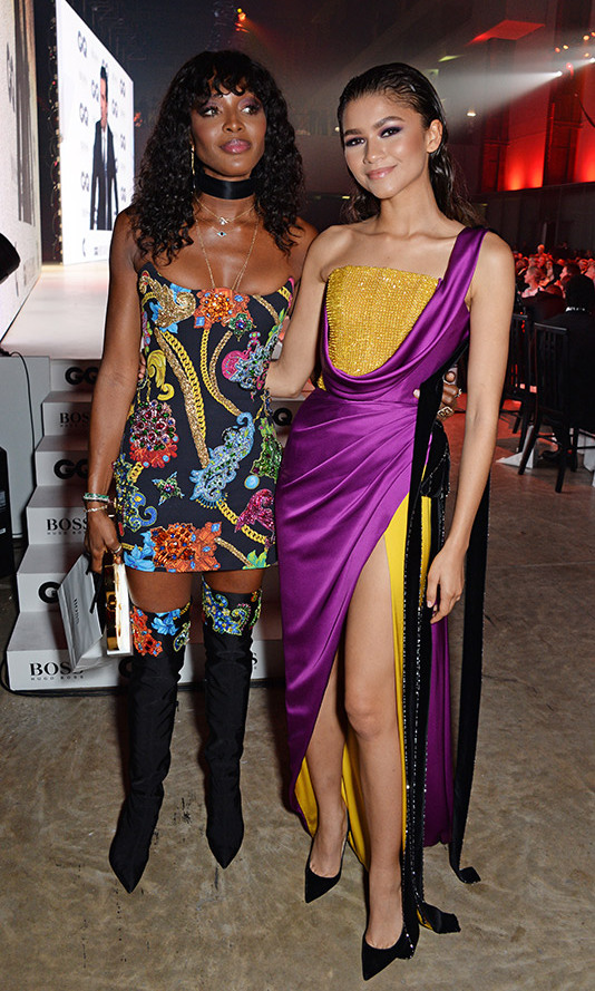 After receiving her award, Fashion Icon of the Year honouree Naomi Campbell posed with multi-hyphenate Zendaya, who looked stunning in a Ralph & Russo gown with a thigh-high slit. 