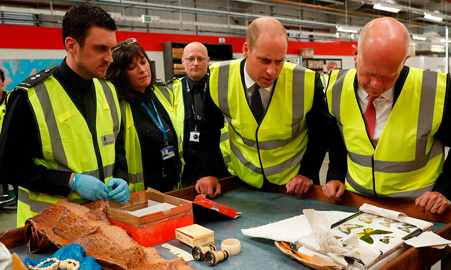 The Duke of Cambridge got an up-close look at some of the items, which were attempted to be sent into Britain.