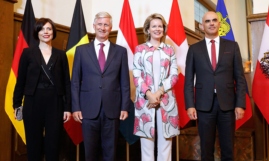 Swiss President Alain Berset, his wife Muriel Zeender Berset welcomed King Philippe and Queen Mathilde of Belgium before a meeting of the heads of six German speaking countries in Sils Maria, Switzerland.