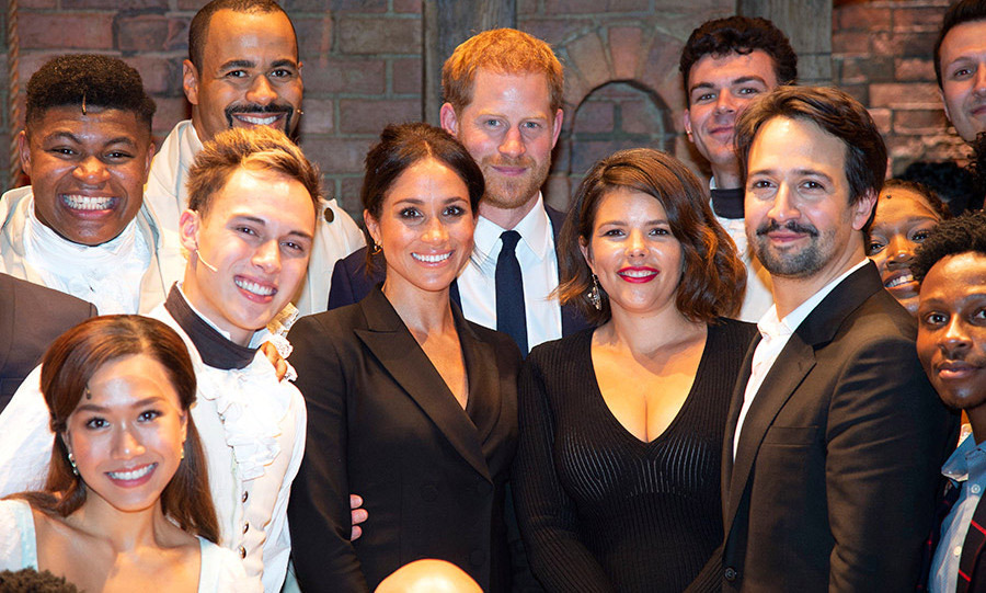 The couple posed with the West End cast of <em>Hamilton</em> and Lin-Manuel Miranda in August 2018, where Prince Harry slid a hand around his wife's waist. We spotted those sweet fingertips right away!
