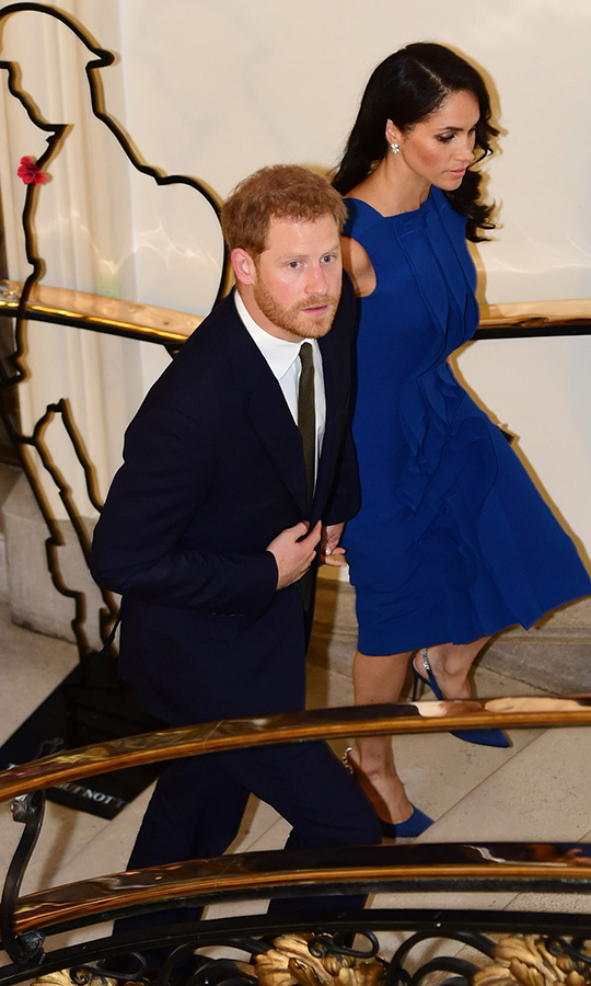 The couple held hands as they headed up the stairs to attend the 100 Days of Peace gala at the Central Hall Westminster in London.