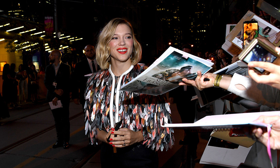 French actress Léa Seydoux showed off her megawatt smile while greeting her loving fans at the premiere of her film <em>Kursk</em>, in which she stars alongside Colin Firth.