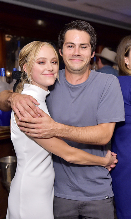 Maika Monroe and Dylan O'Brien stopped for a hug at RBC House. The two are slated to co-star in the upcoming thriller <em>Fitzell</em>.