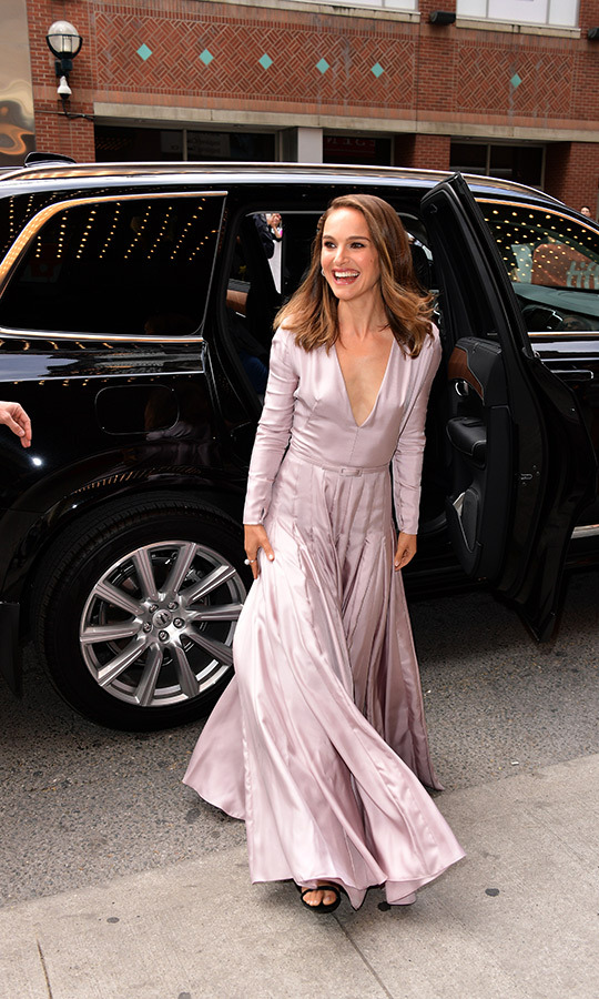 Natalie Portman flashed the ultimate Hollywood smile as she made her way to the red carpet for the <em>Vox Lux</em> premiere in a lavender Dior Haute Couture gown. 