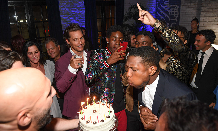 Matthew McConaughey toasted co-star Jonathan Majors's birthday at the <em>White Boy Rick</em> premiere after-party at RBC House. 