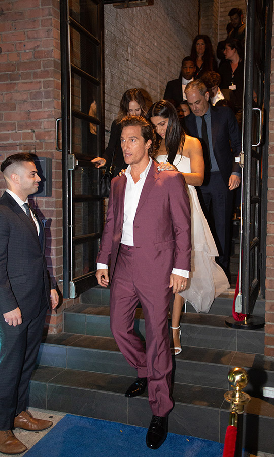 Camila Alves rested her hands on hubby Matthew McConaughey's shoulders as the loved-up pair left the <em>White Boy Rick</em> after-party at RBC House.