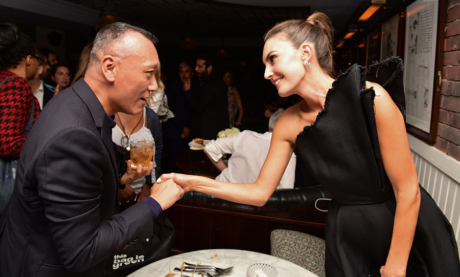 <em>Stitched</em> style expert Joe Zee and actress Elizabeth Chambers shared a sweet moment at the Hugo Boss party celebrating <em>Beautiful Boy</em> at Soho House on Sept. 7.
