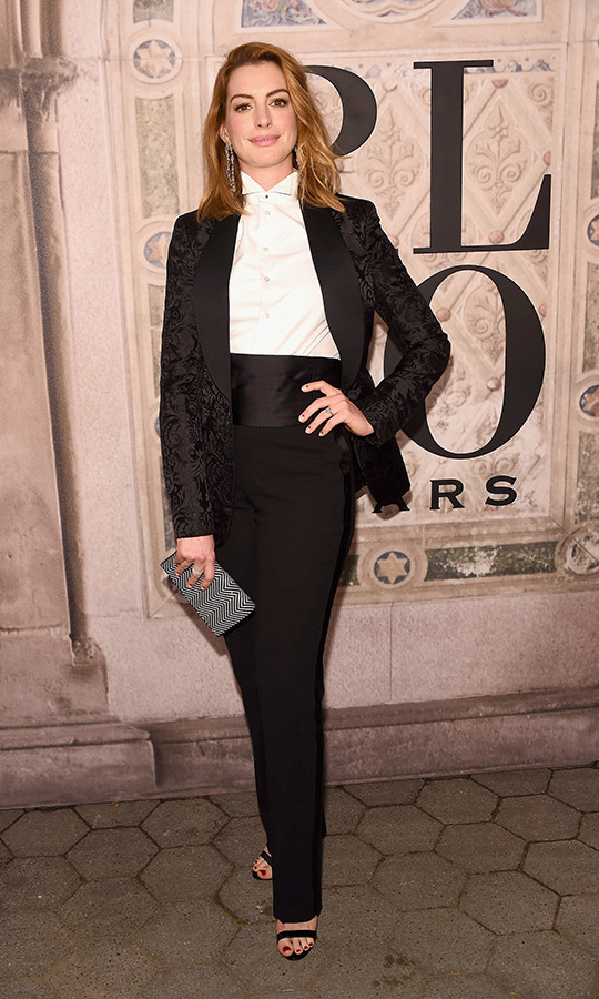Equally chic! Anne Hathaway had the same idea, though her jacket was brocade and she swapped the white vest for a black cummerbund. 
