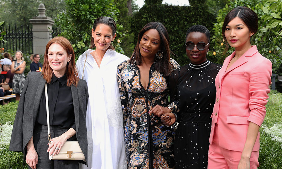 Julianne Moore hit the Tory Burch spring-summer 2018 show at New York Fashion Week on Sept. 7 before heading to Toronto to debut <em>Gloria Bell</em> at TIFF. She hit the FROW alongside Kate Holmes, Tiffany Haddish, Danai Gurira and Gemma Chan. 