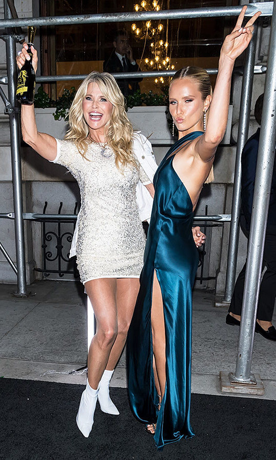Christie Brinkley was ready to celebrate and her mini-me daughter Sailor Lee Brinkley-Cook was totally on board at the BAZAAR ICONS bash at the Plaza Hotel. 