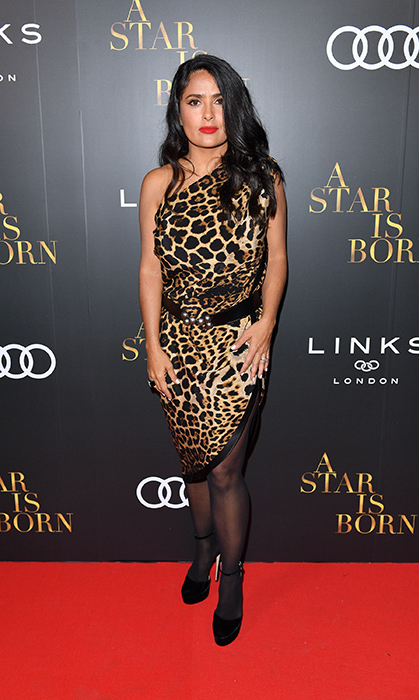 Salma Hayek stunned in leopard print for the <em>A Star Is Born</em> post-screening party with Audi Canada.