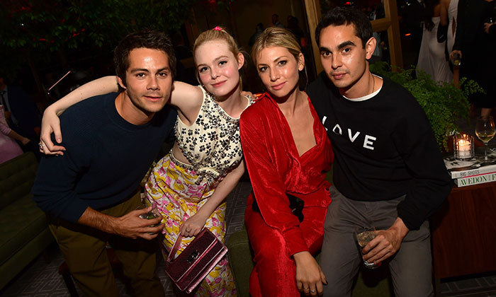 Crew love! Dylan O'Brien, Elle Fanning, Ari Graynor and Max Manghella got close and personal at the party.