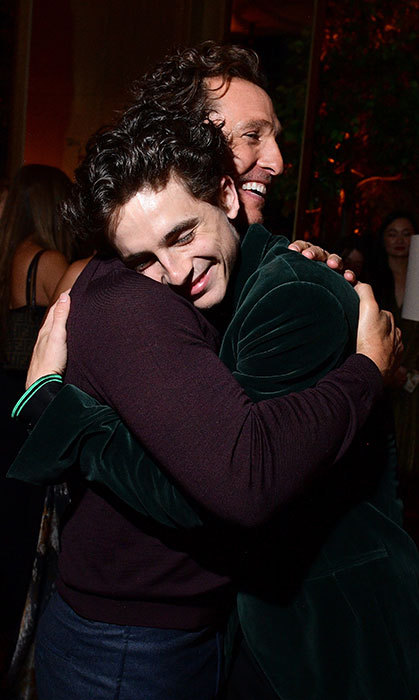 A tender moment captured between Matthew McConaughey and Timothée Chalamet.