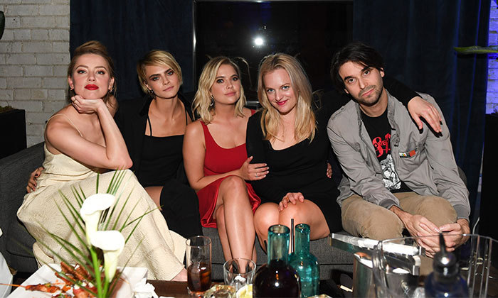 #SquadGoals! Amber Heard, Cara Delevigne, Ashley Benson, Elisabeth Moss and <em>Her Smell</em> director Alex Ross Perry enjoyed some time chatting over drinks at RBC House.