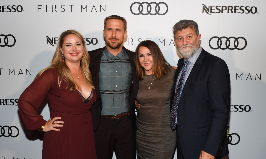 Ryan Gosling's family was over the moon to join him at the Audi and Nespresso-hosted after-party for his Neil Armstrong biopic, <em>First Man</em>. Here, he poses with sister Mandi Gosling, mom Donna Gosling and a guest.