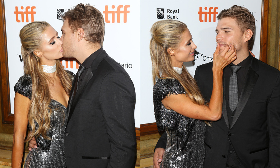 Paris Hilton made sure not to leave any unwanted lipstick on fiancé Chris Zylka at his premiere for <em>The Death and Life of John F. Donovan</em>.