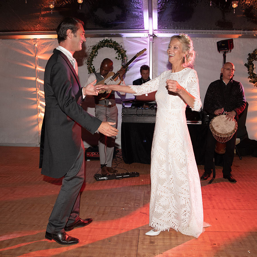 The newlyweds were over the moon as they danced the night away with their loved ones to music provided by a live band.