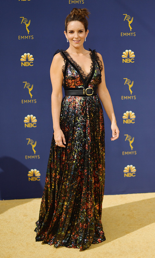 Tina Fey in custom Elie Saab