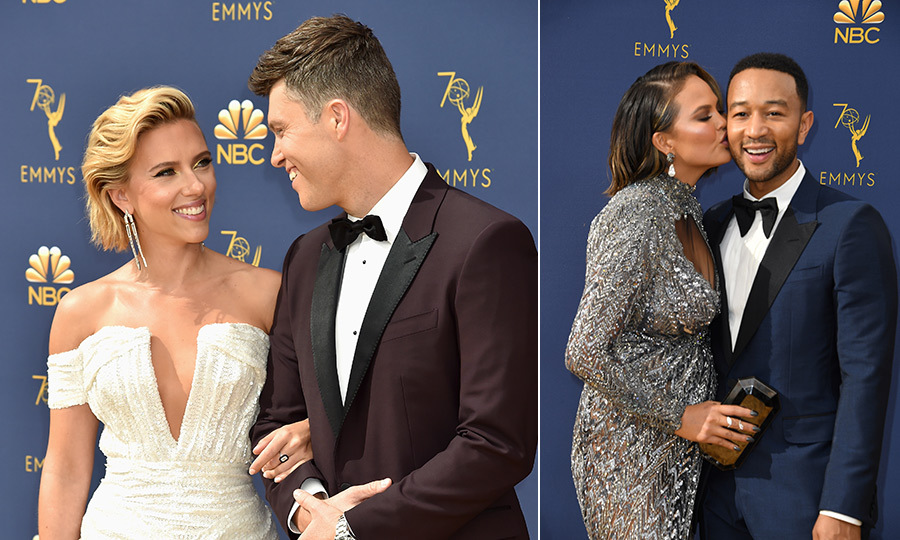 The best accessory on the 2018 Emmys red carpet was… LOVE! From Scarlett Johansson and Colin Jost's Emmys debut to long-time loves like William H. Macy and Felicity Huffman showing new couples like Heidi Klum and Tom Kaulitz how it's done, the walk-up to television's biggest night was the ultimate love fest. Click through for the most loved-up moments.