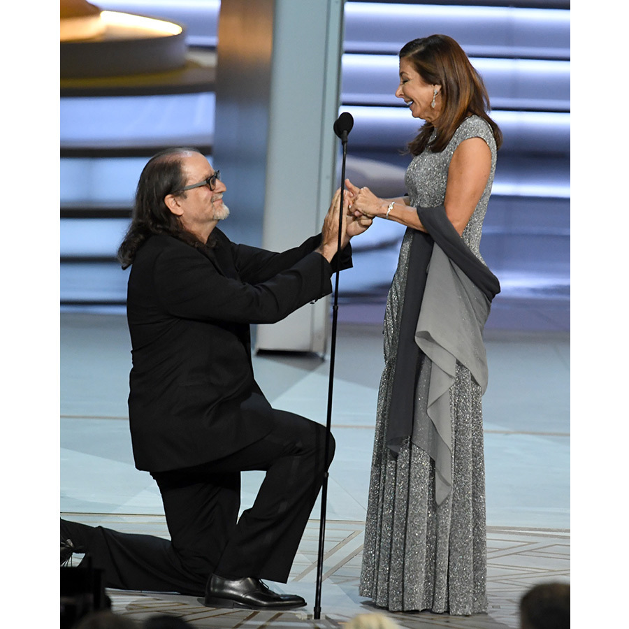 "Glenn Weiss, who took home the Emmy for Outstanding Directing for a Variety Special award for The Oscars, is also taking home something far more exciting - a future wife! After revealing that his mother passed away just two weeks earlier, the eleven-time winner produced his mother's ring and put it on girlfriend Jan Svendsen's finger. ""You wonder why I don't like to call you my girlfriend?"" he said during his speech. ""Because I want to call you my wife!"" Jan was clearly shocked as Milo Ventimiglia led her to the stage and Leslie Jones pointed with her jaw on the floor. In the whirlwind moment that had Claire Foy in tears, he even managed a joke, saying, ""And to my sisters and brothers, I didn't swipe it! Dad knows I have it!""