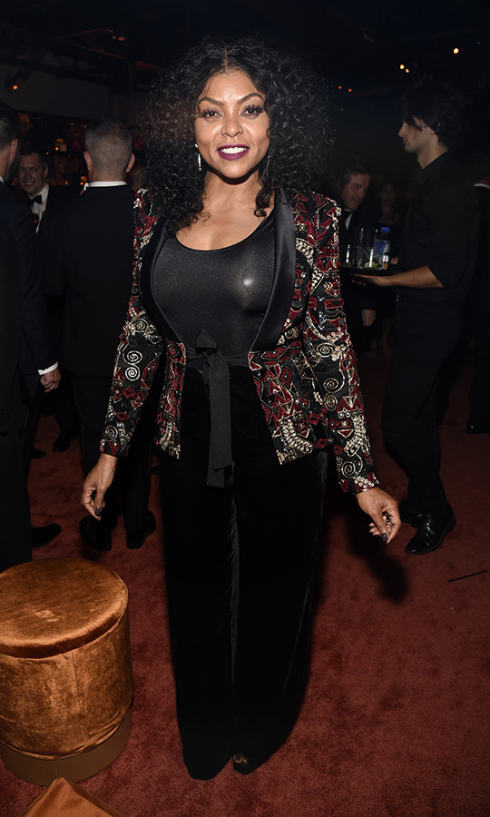 Taraji P. Henson suited up for the Netflix party in a stunning embroidered jacket and wide-legged black pants. 