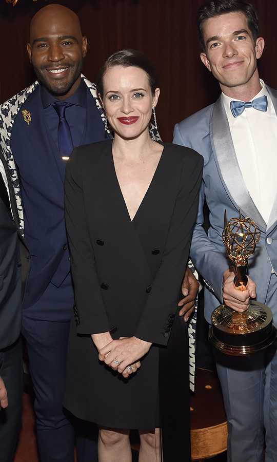 Claire Foy may play the Queen, but the Emmy winner had a Meghan Markle moment in the tuxedo dress she donned at the Netflix shindig.