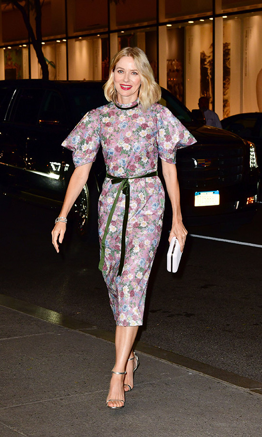 Naomi Watts was also on hand for the festivities, clad in a pretty floral dress with embellished sleeves, a pink lip and - of course - some Harry Winston bling! 