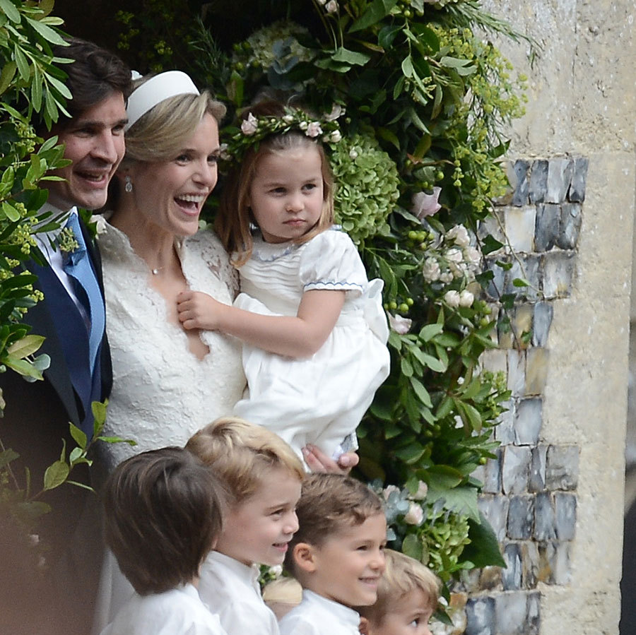 Sophie and Robert posed with their adorable bridal party under an arch of greenery and flowers, with Sophie holding her goddaughter Charlotte in her arms. Sophie has a special relationship with Kate, with whom she's been besties for years, and the two have been spotted together in the stands at Wimbledon. 
