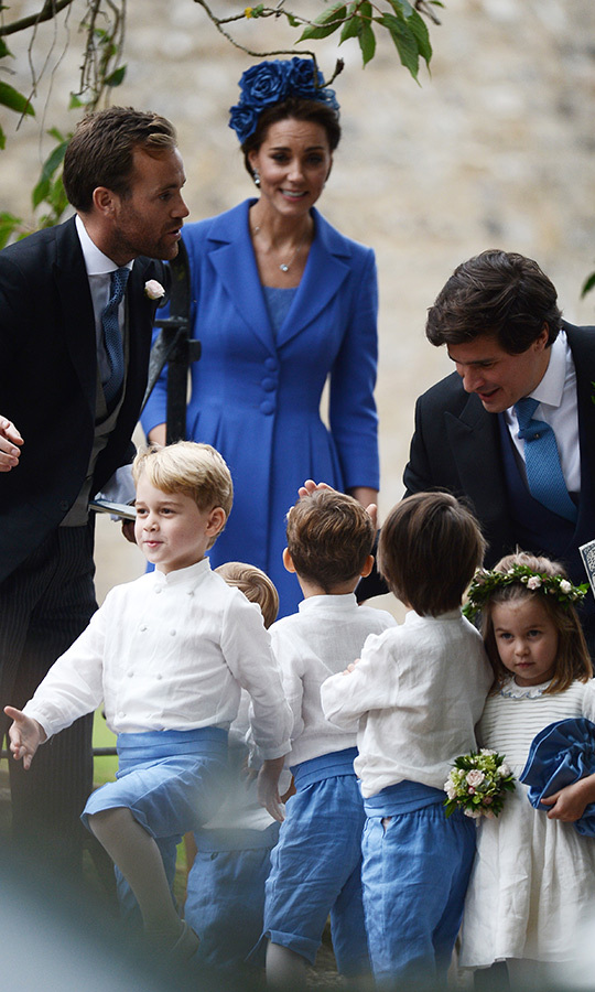 At one point Prince George started marching, much to the amusement of their mom Kate, who is still finishing up her maternity leave after giving birth to Prince Louis. It's believed that the third Cambridge kid was at home with his nanny Maria Teresa Turrion Borrallo. 