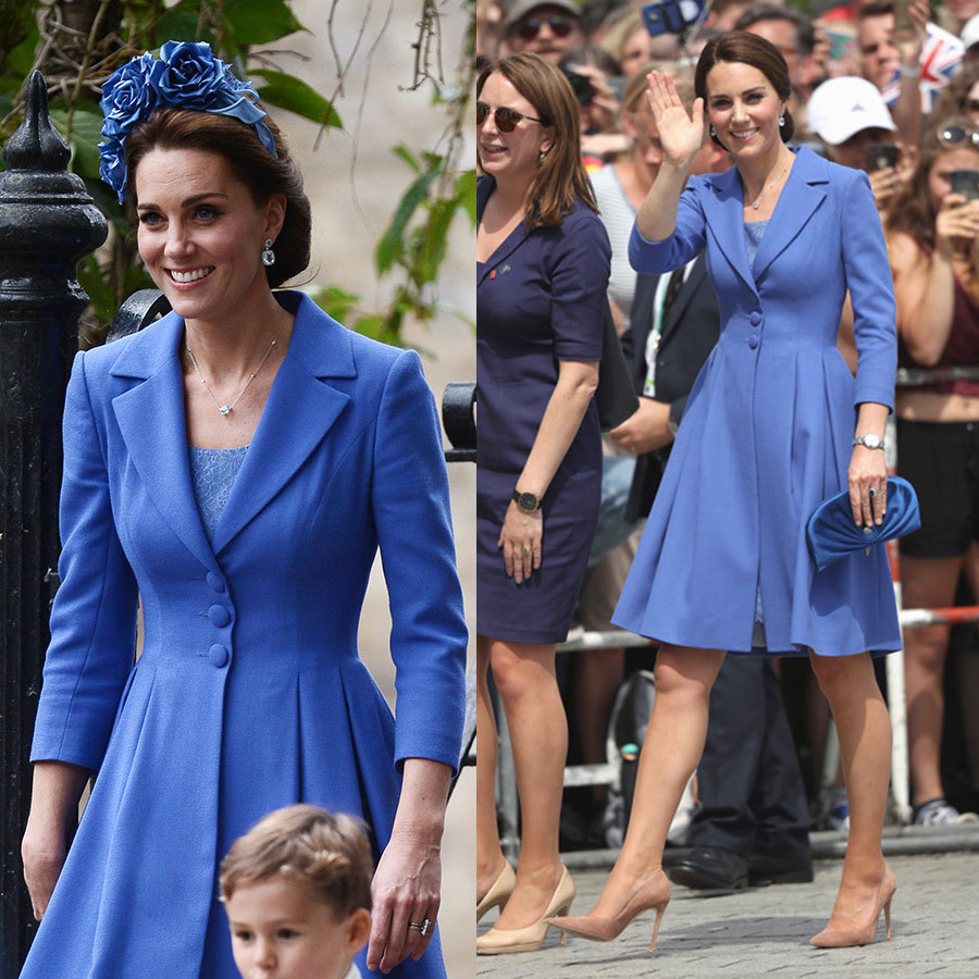 "The Duchess of Cambridge knows just how not to upstage the bride at a wedding - wear a recycled outfit! When one of her closest friends and godmother of Princess Charlotte said ""I do"" on Sept. 22, the royal wore a cornflower blue coat dress by Catherine Walker, which she'd previously donned while on tour in Berlin. Kate breathed new life into the look by adding a stunning floral headband by Juliette Botterill Millinery, which retails for $730. 