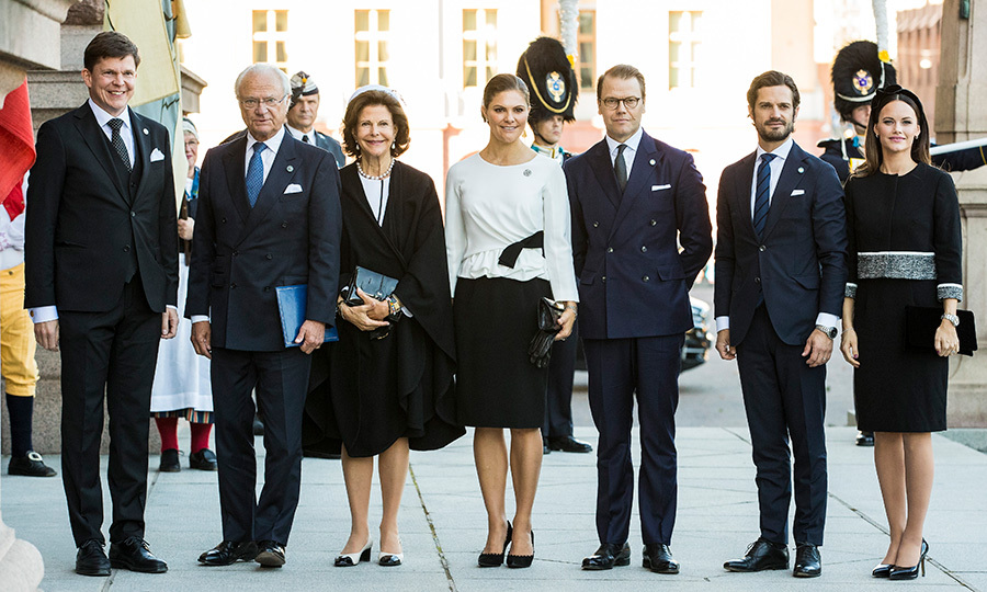 Andreas Norlen, speaker of the parliament, Carl XVI Gustaf, Queen Silvia, Princess Victoria, Prince Daniel, Prince Carl Phillip and Princess Sofia of Sweden posed for a photo before the opening parliamentary session at the Riksdag parliamentary house on Sept. 25.