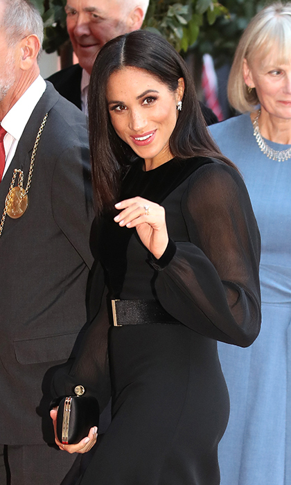 The duchess completed her natural makeup look with a swipe of pink on her lips.