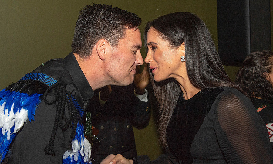 Meghan shared a traditional Maori nose greeting, or Hongi, with one attendee while opening of the exhibit. We can expect to see plenty more of these while she and Harry are on tour!