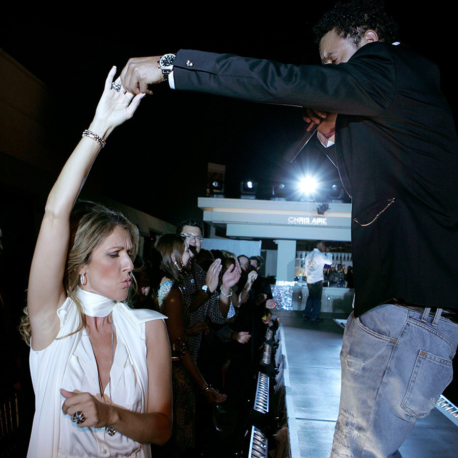 Celine showed off her dance moves with Shaggy during the Chris Aire Fashion Show at Pure Nightclub in 2006.