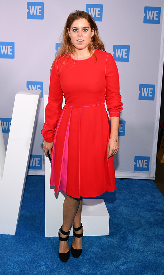 The princess rocked a pretty red dress with pink detailing in the pleats for an appearance at WE Day in New York on Sept. 26, where she gave an empowering speech. She anchored the long-sleeved look with black pumps featuring double ankle straps.